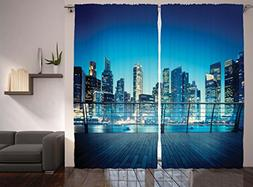 Ambesonne Cityscape Scenery Decor Artwork Curtains, New York
