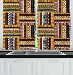 Classic Ethnic Kitchen Curtains 2 Panel Set Window Drapes 55