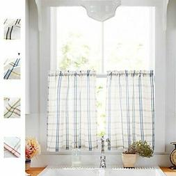 Classic Plaid Kitchen Curtains Checkered Design Gingham Line