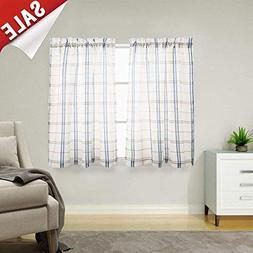 Classic Plaid Kitchen Curtains Gingham Checkered Design Line