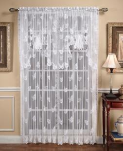 """Closeout! Saturday Knight Sheer Butterflies Lace 56"""" x 38"""" S"""