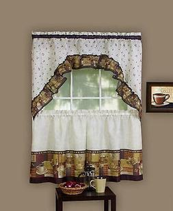 Coffee Complete Kitchen Curtain Tier and Swag Valance Set -