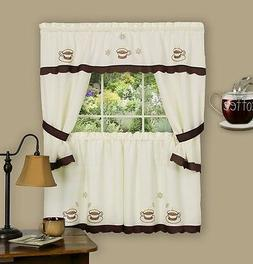 Coffee Cup Kitchen Curtain Embellished Cottage set  Embroide