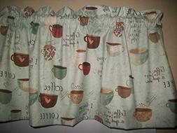Coffee cups Brown Pale Green Country Farm kitchen fabric cur
