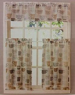 Coffee Cups Kitchen Window Curtain Set 3 Pc