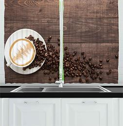 Ambesonne Coffee Decor Collection, Beans Cup and Coffee with