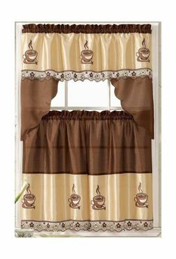 Coffee Embroidered Kitchen Curtain Tiers & Swag Set Brown-be