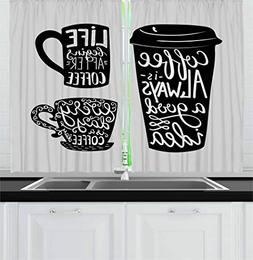 Ambesonne Coffee Kitchen Curtains, Quotes About Coffee with