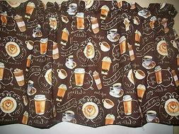Coffee Latte Cups brown fabric kitchen window curtain topper