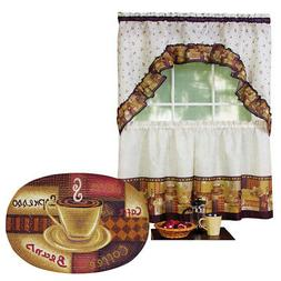 Coffee Lovers Cafe Curtain And Rug Set, by Collections Etc