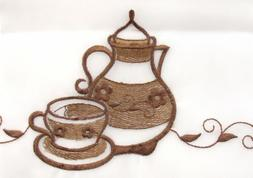 coffee pot 3 pc embroidered kitchen curtain