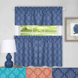 """Colby 24"""" Tier and 14"""" Valance Kitchen Window Curtain Set"""