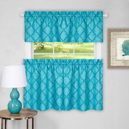 Colby 3-Piece Printed Kitchen Curtain Set, Turquoise, Tiers