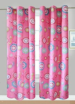 Fancy Linen Collection 2 Panel Flower Pink Curtain Set With