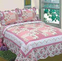 Fancy Collection 3pc Bedspread Bed Cover Floral Off White Pi
