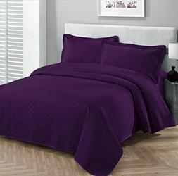 FANCY Collection Bedspread Embossed Oversize solid Queen Pur