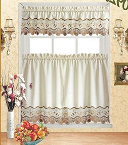 Fancy Collection 3pc Beige with Embroidery Floral Kitchen/ca