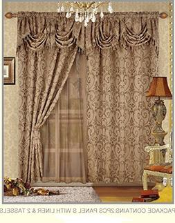 Fancy Collection Embroidered Curtain Set 4 Piece Taupe Mocha