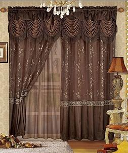 Fancy Collection Embroidery Curtain Set 2 Panel Brown/Coffee