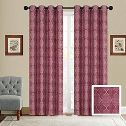Fancy Collection Set of 2 Panels Curtain Embroidery Woven Ja
