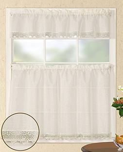 Fancy Collection 3pc Off White Kitchen/cafe Curtain Tier and