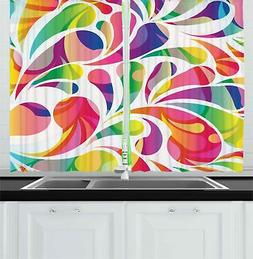 Colorful Abstract Kitchen Curtains 2 Panel Set Window Drapes