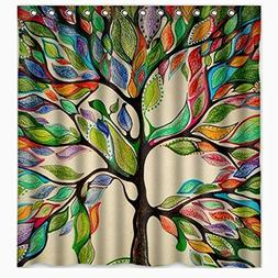 Colorful Big Tree Shower Curtain Bath -Tree of Life Fabric W