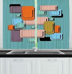 Colorful Cartoon Kitchen Curtains 2 Panel Set Window Drapes