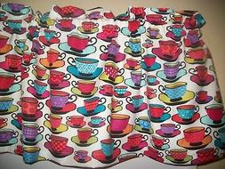 Colorful Coffee Tea Cups teal Orange purple kitchen fabric c