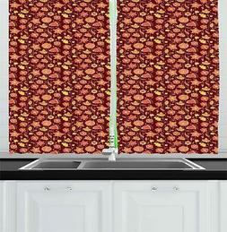 Colorful Garden Kitchen Curtains 2 Panel Set Window Drapes 5