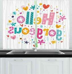 colorful quote kitchen curtains 2 panel set