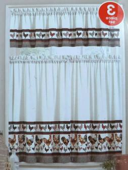 Colorful Rooster Brown Plaid Houndstooth Tier & Valance Kitc