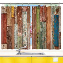 Colorful Striped Wooden Board Kitchen Curtains 2 Panel Set D