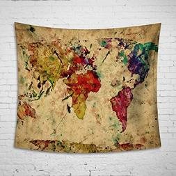 Uphome Colorful Map Tapestry Wall Hanging Light-weight Polye