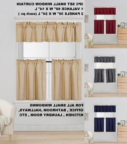 COMPLETE SET LINED BLACKOUT WINDOW KITCHEN CURTAIN SOLID TRE