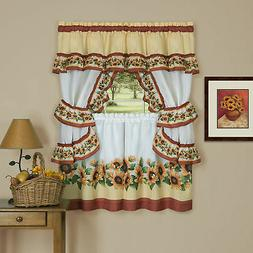 Complete Window Kitchen Cottage Curtain Set with Tier Panels