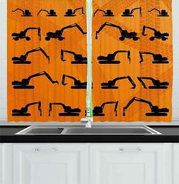 Construction Kitchen Curtains 2 Panel Set Window Drapes 55""