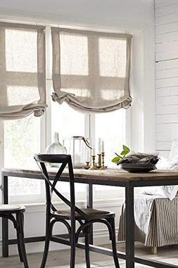 LOGANOVA Hypoallergenic Faux Linen Roman Shades For Windows.