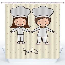 SCOCICI Cool Shower Curtain,Kitchen Decor,Chef Hat and Unifo