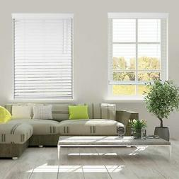 Cordless White 2 Inch Faux wood Blind, 36 48 60 inch length