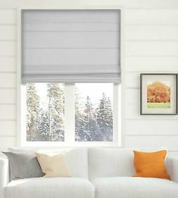 Cordless Fabric Roman Shades Blackout Light Grey,Width from