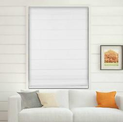 "Cordless Fabric Roman Shades Blackout White,Width from 22"" t"