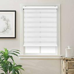 Cordless Zebra Roller Blinds Shades Sheer or Privacy - White