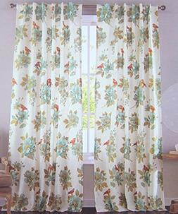 Cottage Country Floral Print Window Curtain Panels Pair 100%