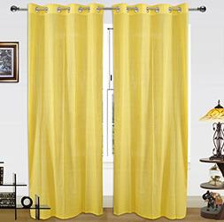 Dekor World Cotton Gold Stripe Beige Curtain Set -5 Feet Lon