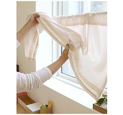 BECUTE Cotton Handmade Lace Cafe Curtain Kitchen Curtain Val