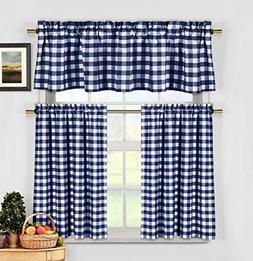 3 Piece Cotton Rich Small Kitchen Window Set: Gingham Check