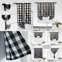 Cotton Tie Up Curtain For Kitchen Window, Buffalo Check Plai