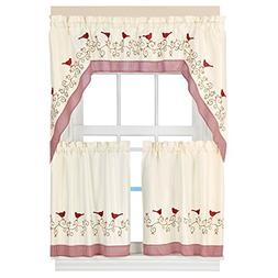 Country-style Embroidered Bird Rod Gingham Pocket 3 Piece Ki