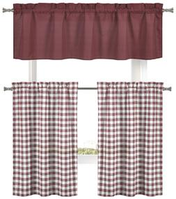 Country Accents 3 Pc. Plaid Gingham Kitchen Curtain Set - As
